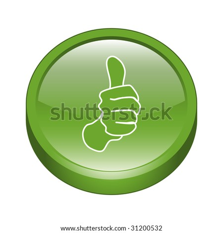 Thumb Up Sign 3D Icon - stock vector