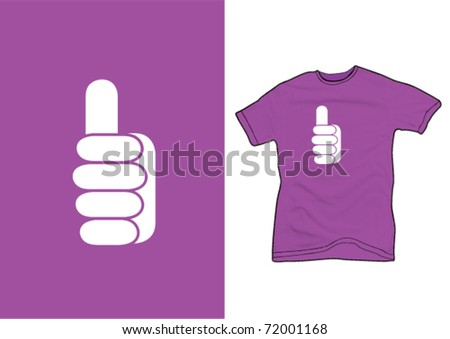 thumb up sign on a purple shirt - stock vector