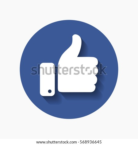 Thumb up symbol, finger up icon vector illustration. Facebooke like.