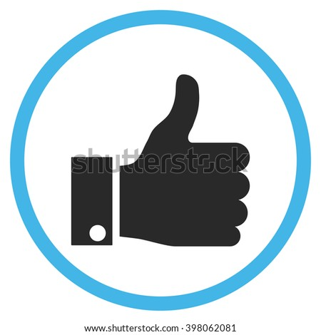 Thumb Up vector bicolor icon. Image style is a flat icon symbol inside a circle, blue and gray colors, white background. - stock vector