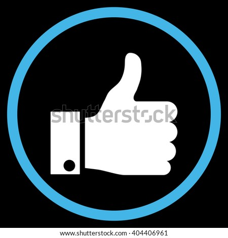 Thumb Up vector bicolor icon. Image style is a flat icon symbol inside a circle, blue and white colors, black background. - stock vector