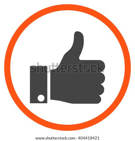 Thumb Up vector bicolor icon. Picture style is flat thumb up rounded icon drawn with orange and gray colors on a white background. - stock vector