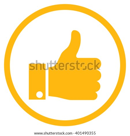 Thumb Up vector icon. Image style is a flat icon symbol inside a circle, yellow color, white background. - stock vector