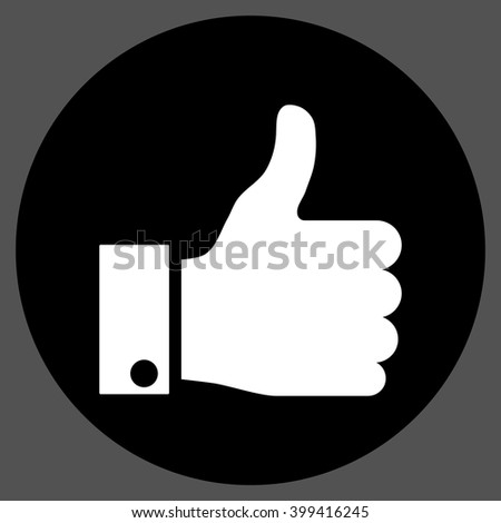 Thumb Up vector icon. Image style is a flat icon symbol on a round button, black and white colors, gray background. - stock vector