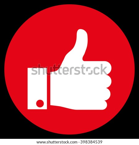 Thumb Up vector icon. Image style is a flat icon symbol on a round button, red and white colors, black background. - stock vector