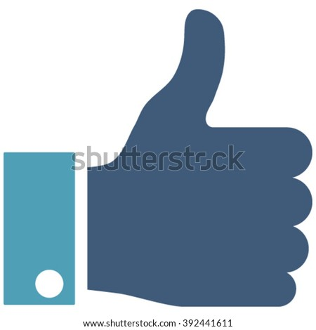 Thumb Up vector icon. Image style is bicolor flat thumb up pictogram drawn with cyan and blue colors on a white background. - stock vector
