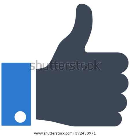 Thumb Up vector icon. Image style is bicolor flat thumb up pictogram drawn with smooth blue colors on a white background. - stock vector