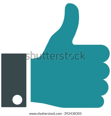 Thumb Up vector icon. Image style is bicolor flat thumb up pictogram drawn with soft blue colors on a white background. - stock vector