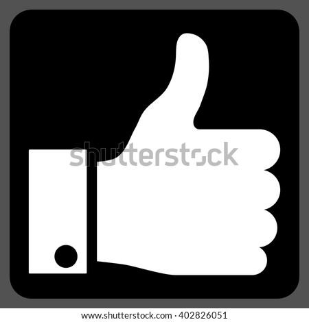 Thumb Up vector icon. Image style is bicolor flat thumb up pictogram symbol drawn on a rounded square with black and white colors. - stock vector