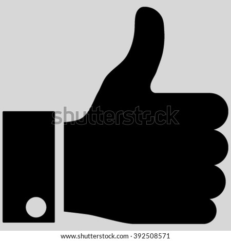 Thumb Up vector icon. Image style is flat thumb up pictogram symbol drawn with black color on a light gray background. - stock vector