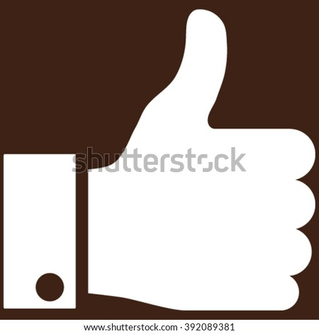 Thumb Up vector icon. Image style is flat thumb up pictogram symbol drawn with white color on a brown background. - stock vector