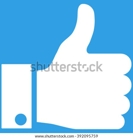 Thumb Up vector icon. Image style is flat thumb up pictogram symbol drawn with white color on a blue background. - stock vector