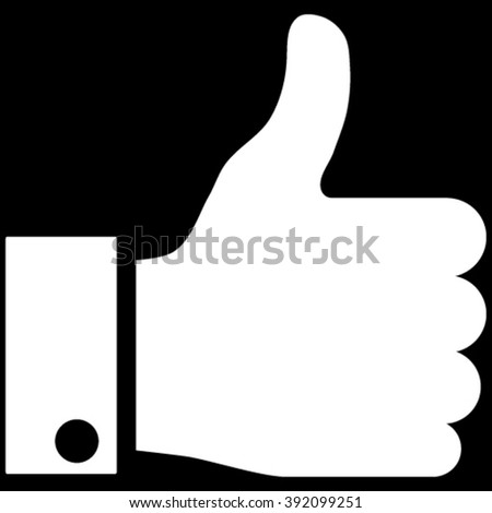 Thumb Up vector icon. Image style is flat thumb up pictogram symbol drawn with white color on a black background. - stock vector
