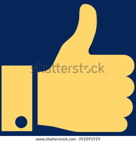 Thumb Up vector icon. Image style is flat thumb up pictogram symbol drawn with yellow color on a blue background. - stock vector