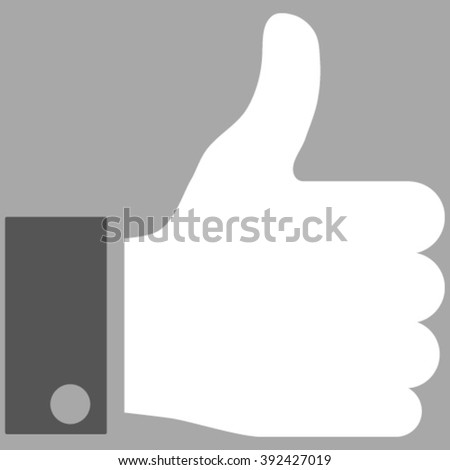 Thumb Up vector icon. Picture style is bicolor flat thumb up icon drawn with dark gray and white colors on a silver background. - stock vector