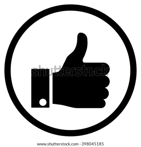 Thumb Up vector icon. Picture style is flat thumb up rounded icon drawn with black color on a white background. - stock vector