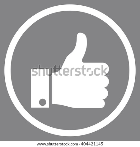 Thumb Up vector icon. Picture style is flat thumb up rounded icon drawn with white color on a gray background. - stock vector