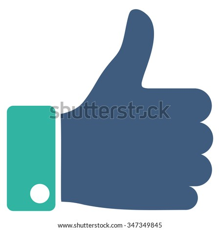 Thumb Up vector icon. Style is bicolor flat symbol, cobalt and cyan colors, rounded angles, white background. - stock vector