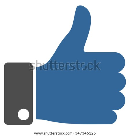 Thumb Up vector icon. Style is bicolor flat symbol, cobalt and gray colors, rounded angles, white background. - stock vector