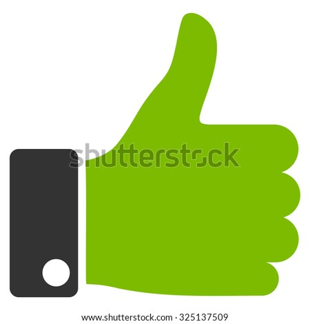 Thumb Up vector icon. Style is bicolor flat symbol, eco green and gray colors, rounded angles, white background. - stock vector
