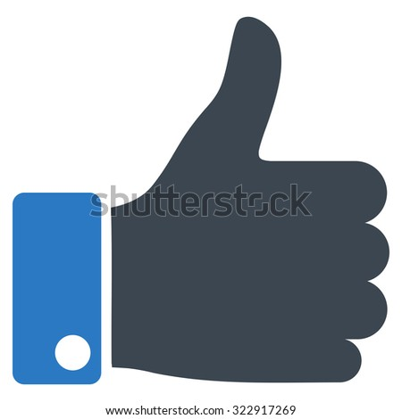 Thumb Up vector icon. Style is bicolor flat symbol, smooth blue colors, rounded angles, white background. - stock vector