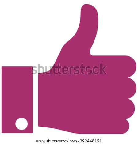 Thumb Up vector icon. Style is flat icon symbol, purple color, white background. - stock vector