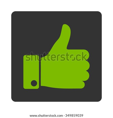 Thumb Up vector icon. Style is flat rounded square button, eco green and gray colors, white background. - stock vector