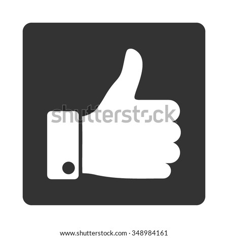 Thumb Up vector icon. Style is flat rounded square button, white and gray colors, white background. - stock vector