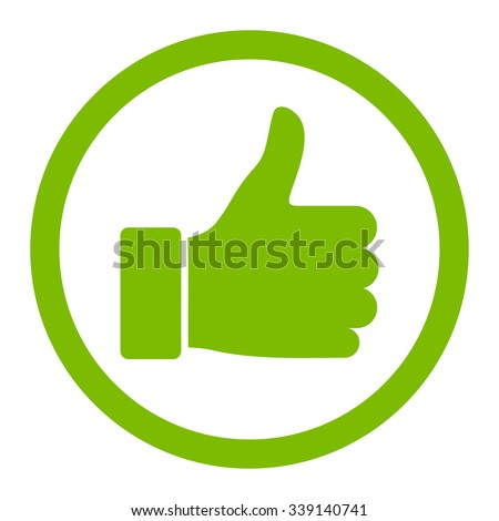 Thumb Up vector icon. Style is flat rounded symbol, eco green color, rounded angles, white background. - stock vector
