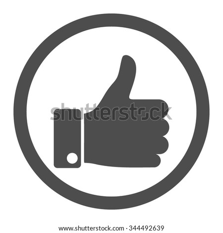 Thumb Up vector icon. Style is flat rounded symbol, gray color, rounded angles, white background. - stock vector