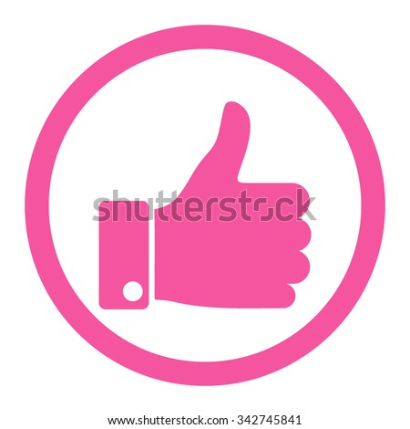 Thumb Up vector icon. Style is flat rounded symbol, pink color, rounded angles, white background. - stock vector