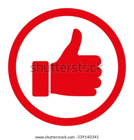 Thumb Up vector icon. Style is flat rounded symbol, red color, rounded angles, white background. - stock vector