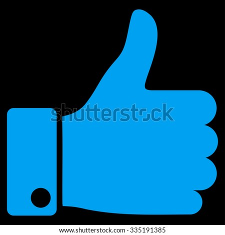 Thumb Up vector icon. Style is flat symbol, blue color, rounded angles, black background. - stock vector