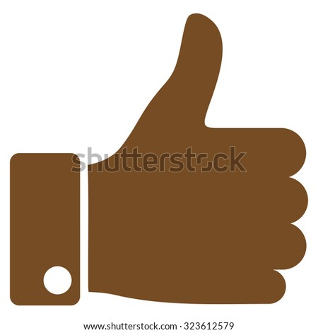 Thumb Up vector icon. Style is flat symbol, brown color, rounded angles, white background. - stock vector