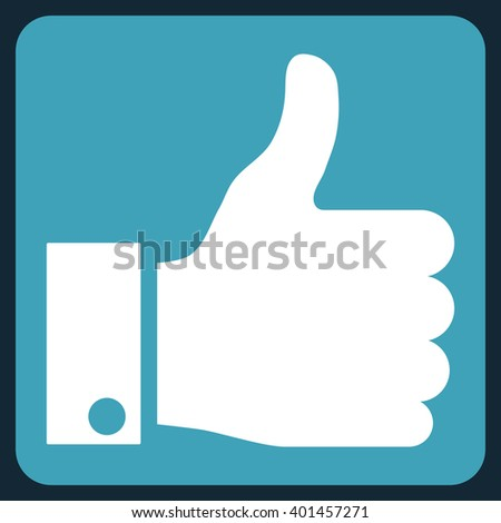 Thumb Up vector pictogram. Image style is bicolor flat thumb up pictogram symbol drawn on a rounded square with blue and white colors. - stock vector
