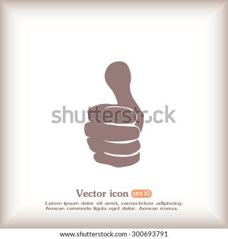 Thumb up. Vector sign okay  - stock vector