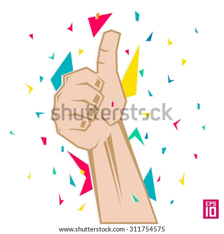 Thumb up vector. Thumb up colorful illustration.  - stock vector