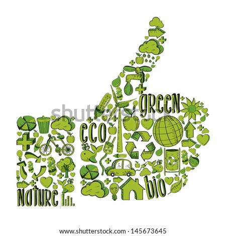 Thumb up with environmental hand drawn icons in green. This illustration is layered for easy manipulation and custom coloring - stock vector