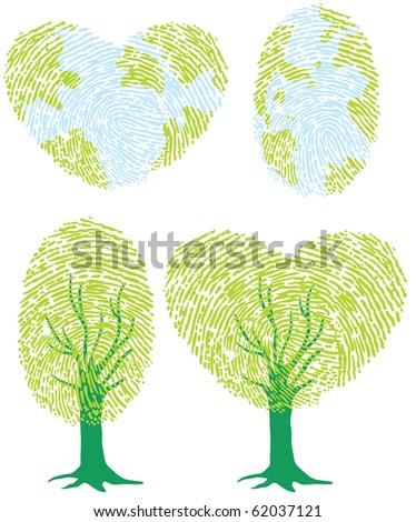 Thumbprint green tree, recycle/green design element - stock vector