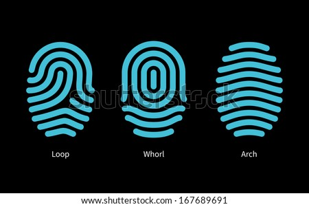 Thumbprint types on black background. Vector illustration. - stock vector