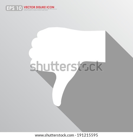 Thumbs down icon on gray background - disappointed & dislike concept - stock vector