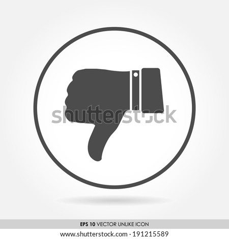 Thumbs down sign in circle - vector icon - bad & dislike concept - stock vector