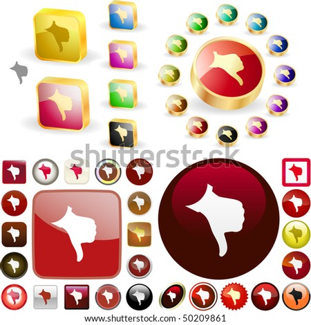 Thumbs down. Vector great collection. - stock vector