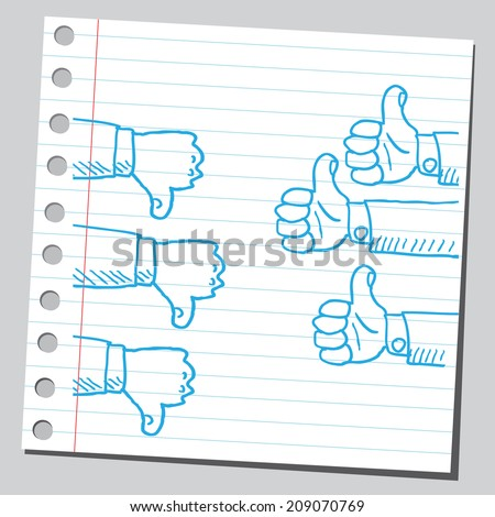 Thumbs up and down - stock vector