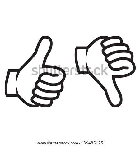 Thumbs up and down gesture vector illustration in black - stock vector