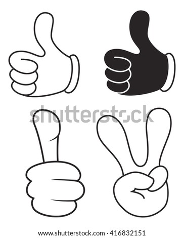 Thumbs up and peace  - stock vector