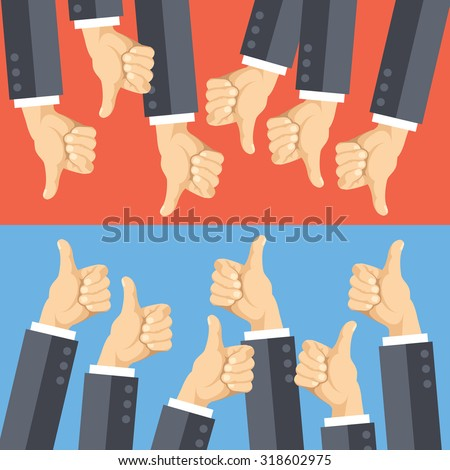 Thumbs up and thumbs down flat illustration. Good choice and poor choice. Flat design concept for web banners, web sites, printed materials, advertising, infographics. Creative vector illustration - stock vector