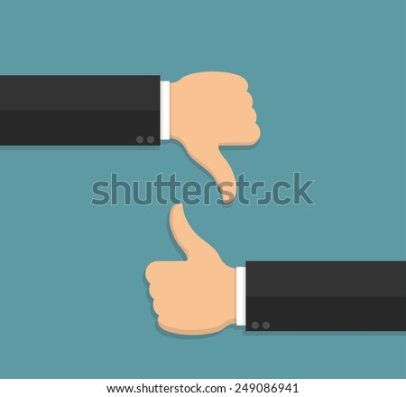 Thumbs up and thumbs down hand sign in flat style - stock vector