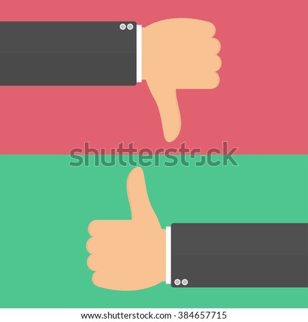 Thumbs up and thumbs down hand sign. Vector illustration in flat style