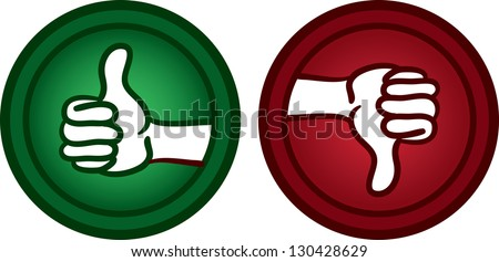 Thumbs up and thumbs down icons - stock vector